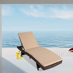 Leaptime Patio Lounge Chairs Brown PE Wicker Chaise Lounge with Cushion Khaki