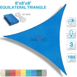 PATIO Paradise 8′ x 8′ x 8′ Blue Sun Shade Sail Triangle Canopy, 180 GSM Perme ...