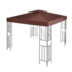 Flexzion 10′ x 10′ Gazebo Canopy Top Replacement Cover (Brown) – Dual Tier Up  ...