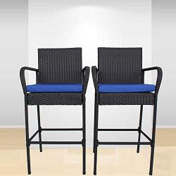 Garden Stool Set of 2 Patio Furniture PE Rattan Black Outdoor Home Bar Chairs Cushioned Barstool ...