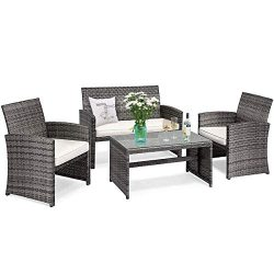 Tangkula 4-PCS Wicker Patio Conversation Set, Outdoor Rattan Sofas with Table Set, Patio Furnitu ...