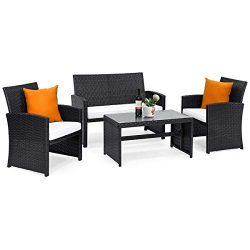 Tangkula 4PCS Patio Furniture Set with Coffee Table, Chairs, Cushions & Loveseat for Garden  ...
