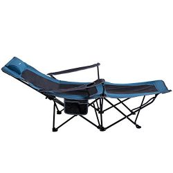 Yolafe Folding Camping Chair Portable Patio Lounge Chaise Heavy Duty with Cup Holder Armrest and ...