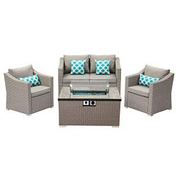 Outdoor 4-Piece Patio Furniture w Propane Fire Pit, Pearl Gray Rattan Conversation Set, 4 Blue P ...