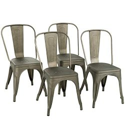 Metal Dining Chairs Set of 4 Stackable Metal Chairs Room Chair Vintage Patio Chair with Back 18  ...
