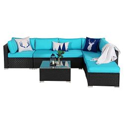 7 Piece Outdoor Patio PE Rattan Wicker Sofa Sectional Furniture Set, All Weather Washable Cushio ...
