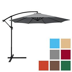 Best Choice Products 10-Foot Offset Hanging Aluminum Polyester Market Patio Umbrella w/ 8 Ribs a ...
