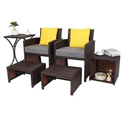 VINGLI 6PCS Wicker Patio Conversation Set with Cushions Outdoor Patio Furniture Set 2 Single Cha ...