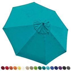 EliteShade 9ft Patio Umbrella Market Table Outdoor Deck Umbrella Replacement Canopy (Teal)