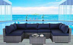 JETIME Outdoor Rattan Furniture 7pcs Patio Grey Conversation Set Garden Sofa Set Sectional Couch ...