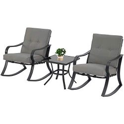 Oakmont Outdoor Furniture 3 Piece Bistro Set Patio Rocking Chairs with Warm Gray Thick Cushions, ...