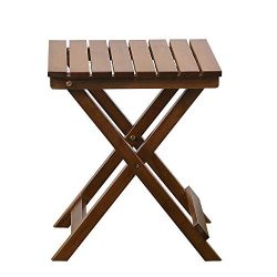 B&Z KD-40N Adirondack Square Portable Wooden Folding Side Table Outdoor Oak