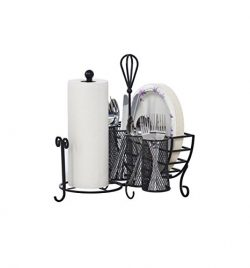 Gourmet Basics by Mikasa 5176813 Avilla Picnic Plate Napkin and Flatware Storage Caddy with Pape ...
