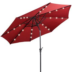 Giantex 10ft Solar Patio Umbrella Outdoor with Lights, 8 Ribs Steel Market Umbrella, Easy Push B ...
