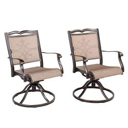 CW Chair Outdoor Cast Aluminum Swivel Rocker, Rust-Free Patio Dining Lawn Garden Backyard Chairs ...
