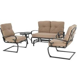 Oakmont Outdoor Patio Furniture Conversation Set Glider Loveseat, 2 Chairs with Coffee Table Spr ...