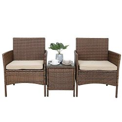 Oteymart 3 Pieces Outdoor Furniture Wicker Rattan Conversation Set 2 Club Chairs with Coffee Tab ...