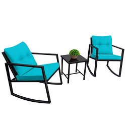 Devoko 3 Piece Rocking Bistro Set Wicker Patio Outdoor Furniture Porch Chairs Conversation Sets  ...