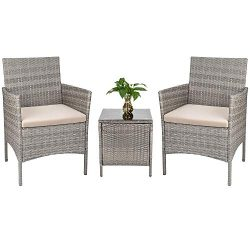Tozey Porch Furniture Outdoor Patio Sets PE Rattan Wicker Conversation Set with Table Backyard P ...