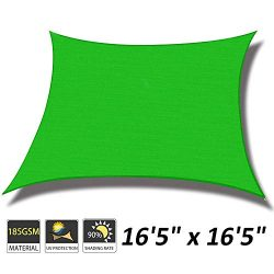 Cool Area 16'5″ x 16'5″ Square Sun Shade Sail for Patio Garden Outdoor,  ...