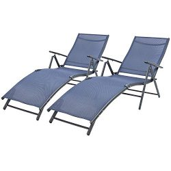 Devoko Patio Outdoor Chaise Lounge Chairs Beach Pool Side Folding Recliner Adjustable Lounge Cha ...