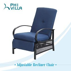 PHIVILLA Adjustable Patio Recliner Chair Metal Outdoor Lounge Chair with Removable Cushions Supp ...