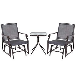Outsunny 3 Piece Patio Glider Chair Bistro Set Outdoor Rocking Chair and Table Furniture for Two ...