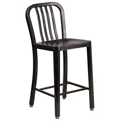Flash Furniture 24″ High Black-Antique Gold Metal Indoor-Outdoor Counter Height Stool with ...