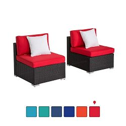 Peach Tree Outdoor Loveseat 2 PCs Patio Furniture Set, Wicker Armless Sofa Chairs Black Rattan T ...