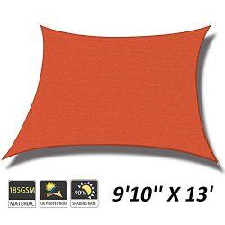 """Cool Area 9'10"""" x 13′ Rectangle Sun Shade Sail for Patio Garden Outdoor, UV Bl ..."""