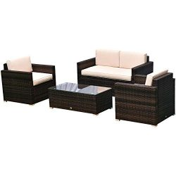 Outsunny 4 Pieces Outdoor Wicker Patio Sofa Set, Rattan Conversation Furniture Set with Cushions ...