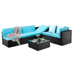 PAMAPIC 7 Pieces Patio Furniture,Outdoor Rattan Sectional Sofa Conversation Set with Tea Table a ...