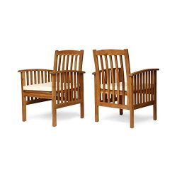 Great Deal Furniture Phoenix Acacia Patio Dining Chairs, Acacia Wood with Outdoor Cushions, Brow ...