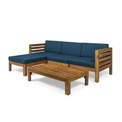 Christopher Knight Home Alice Outdoor 5 Piece Acacia Wood Sofa Set, Teak Finish, Dark Teal