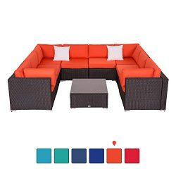 Peach Tree 9 PCs Outdoor Patio PE Rattan Wicker Sofa Sectional Furniture with 2 Pillows and Tea  ...