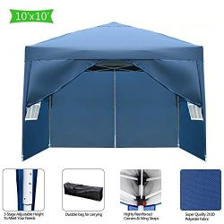 Goujxcy 10×10 Ft Pop up Canopy,Outdoor Waterproof Party Tent with 4 Removable Sidewalls and ...