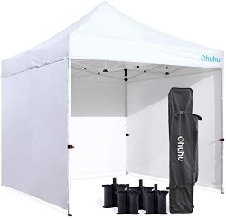 Ohuhu Sturdy 10 x 10 FT Pop-up Canopy Tent with Reinforced Metal Frame, 4 Removable Zipper End S ...