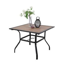 PHI VILLA 37″ x 37″ Outdoor Patio Wood-Like Square Dining Table with Metal Steel Fra ...