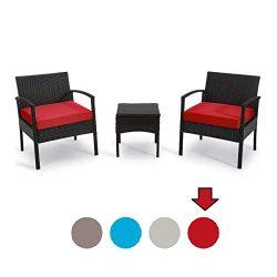 GEAREDEN 3 Pieces PE Rattan Wicker Chair Set Outdoor Patio Rattan Wicker Funiture Set, Conversat ...