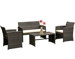 FDW 4 Pieces Outdoor Patio Furniture Sets Rattan Chair Patio Set Wicker Conversation Set Poolsid ...