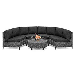 UDKTSOFAS 5-Piece Modern Outdoor Patio Semi-Circle Wicker Sectional Sofa Set w/ 4 Seats, Coffee  ...