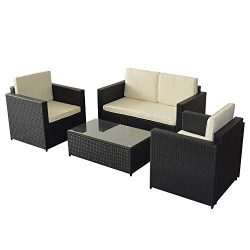 Mcombo Outdoor 4-Piece Patio Sofa and Table Furniture Sectional Seating Set, All-Weather Black W ...