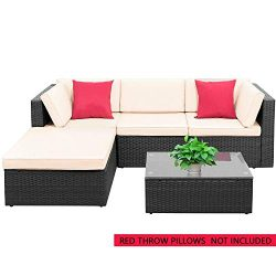 PayLessHere 5 Pieces Furniture Outdoor Wicker Sectional Patio Rattan Chair Conversation Backyard ...