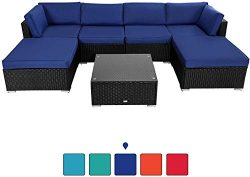 Peach Tree 7 PCs Outdoor Patio PE Rattan Wicker Sectional Sofa Furniture Set with 2 Pillows and  ...
