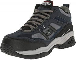 Skechers Men's Work Relaxed Fit Soft Stride Canopy Comp Toe Shoe, Navy/Gray – 11 B(M) US