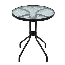 ZIPSAK Patio Table 24in, Bistro Table, Tempered Glass Top Metal Frame Table for Outdoor Garden P ...