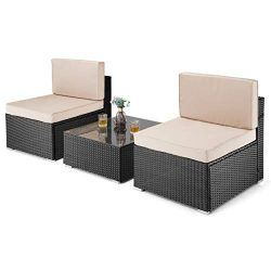 PAMAPIC 3 Pieces Patio Furniture,Outdoor Rattan Sectional Sofa Conversation Set with Tea Table  ...