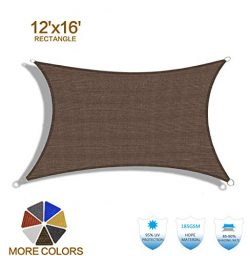 HENG FENG 12'x16′ Brown Rectangle Sun Shade Sail UV Block for Patio Deck Yard and Ou ...
