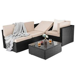 PAMAPIC 5 Pieces Patio Furniture,Outdoor Rattan Sectional Sofa Conversation Set with Tea Table  ...