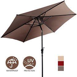 Giantex 10ft Outdoor Patio Umbrella, Market Table Umbrella w/Tilt Adjustment and Crank, 180G Pol ...